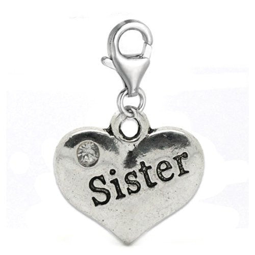 Clip on Sister Charm Pendant for European Jewelry w/ Lobster Clasp