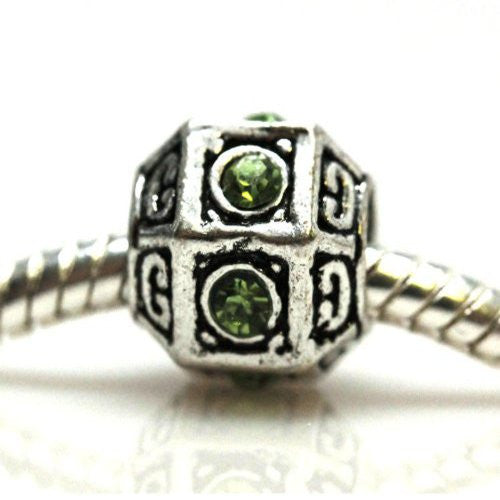 Spacer Charm with Green  Rhinestones European Bead Compatible for Most European Snake Chain Bracelet