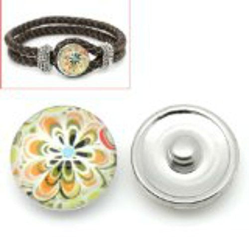Multi Flower Design Glass Chunk Charm Button Fits Chunk Bracelet 18mm for Noosa Style Bracelet