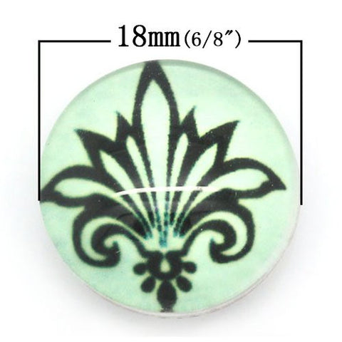 Fleur-de-lis Flower Design Glass Chunk Charm Button Fits Chunk Bracelet 18mm for Noosa Style Bracelet - Sexy Sparkles Fashion Jewelry - 2