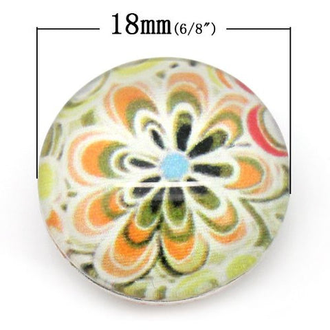Multi Flower Design Glass Chunk Charm Button Fits Chunk Bracelet 18mm for Noosa Style Bracelet - Sexy Sparkles Fashion Jewelry - 2