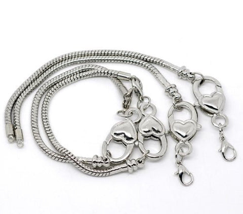 "Heart Lobster Clasp Charm Bracelet Silver Tone (7.5"") - Sexy Sparkles Fashion Jewelry - 3"