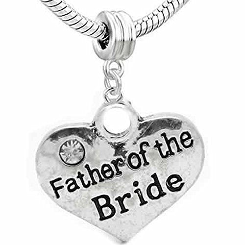 Wedding Charms Heart W/Crystal Dangle Charm Bead For Snake Chain Bracelet (Father of the Bride)