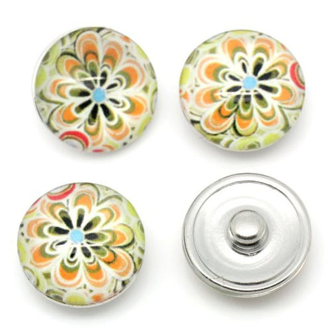 Multi Flower Design Glass Chunk Charm Button Fits Chunk Bracelet 18mm for Noosa Style Bracelet - Sexy Sparkles Fashion Jewelry - 3