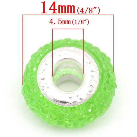 Green Glitter Charm fits European Snake Chain Charm Bracelets - Sexy Sparkles Fashion Jewelry - 3