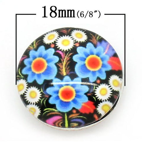 Multi Flower Pattern Glass Chunk Charm Button Fits Chunk Bracelet 18mm for Noosa Style Bracelet - Sexy Sparkles Fashion Jewelry - 2