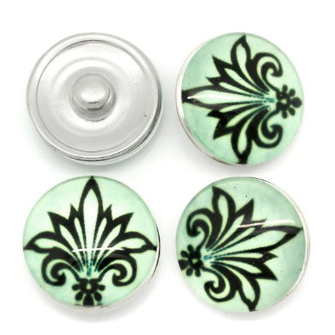 Fleur-de-lis Flower Design Glass Chunk Charm Button Fits Chunk Bracelet 18mm for Noosa Style Bracelet - Sexy Sparkles Fashion Jewelry - 3