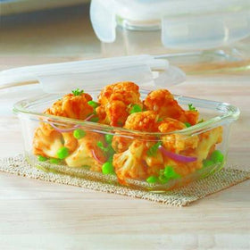 Borosil Klip & Store Rectangular Containers with Lid, 370ml