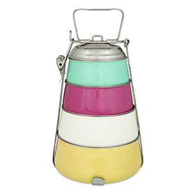 ELAN Dabbawala 4 Compartment Tiffin Box, Stainless steel, pyramid shape, four tier, Traditional Indian Lunch Box, Aqua-Pink-Off White-Yellow | SpreeIndia.com - India's First Website That Discovers Eco-Friendly Products