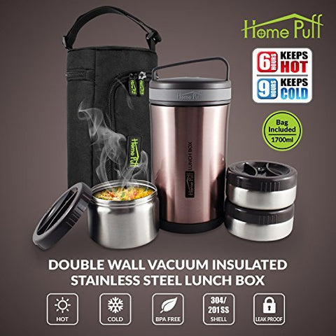 Home Puff Double Wall Vacuum Insulated Stainless Steel Lunch Box, 3-Containers, 1.7 Litre, Rose Gold