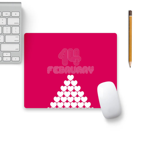 14 February Heart Stack Mouse Pad Beige Base