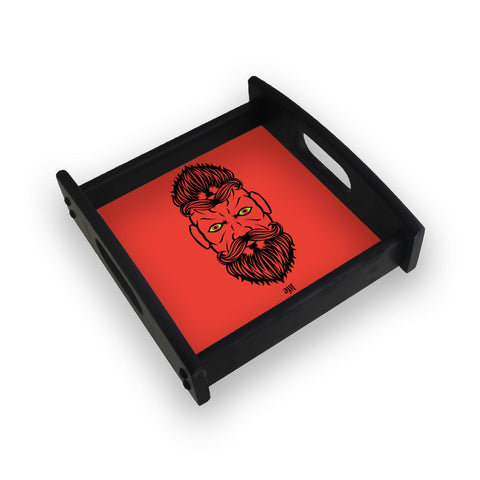 2 Beardiful On Red Square Wooden Serving Tray (Ebony)