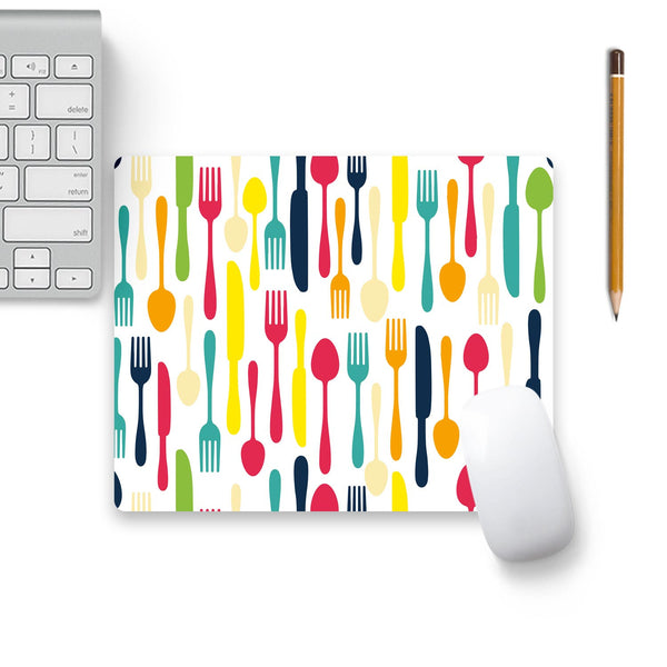Colorful Cutlery Mouse Pad Beige Base