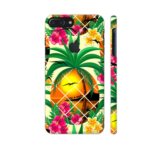 Pineapple Tropical Sunset And Flowers iPhone 7 Plus Logo Cut Cover | Artist: BluedarkArt