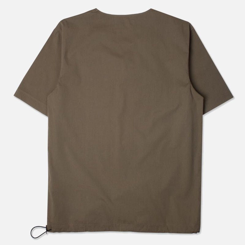 Caddy Tee In Olive Stretch Woven Cotton Shockcord back view