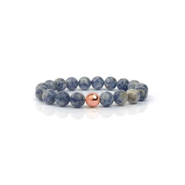 Sea Stones Bracelet with Gold, Rose Gold, or Silver Focus Bead