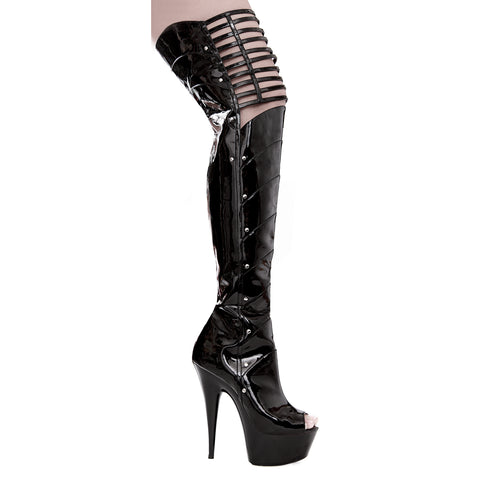 609KATRINA Thigh High Platform Peep Toe Boot w/6 inch  Heel and Lattice Accent by LA Kiss.com
