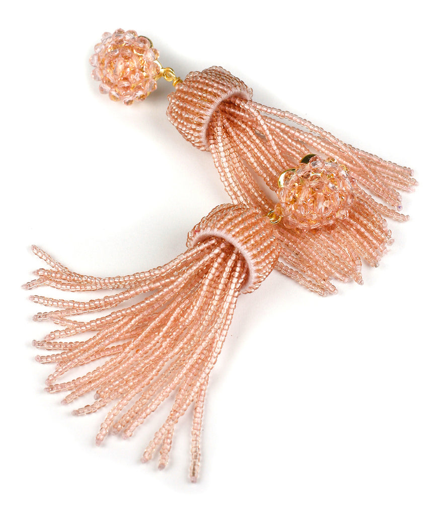 Lisi Lerch Tassel Earrings Clear Pink - Ship Chic
