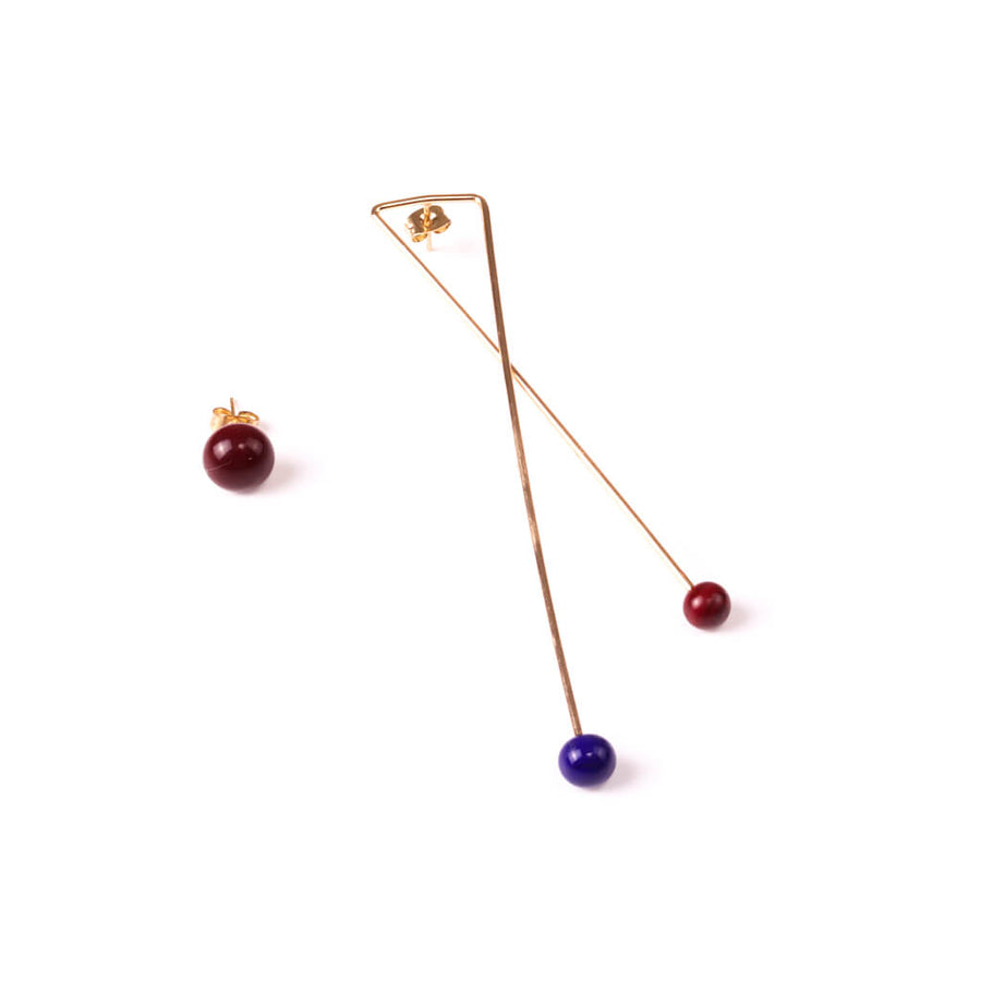 Centouno Statement Earrings Bordeaux & Blue