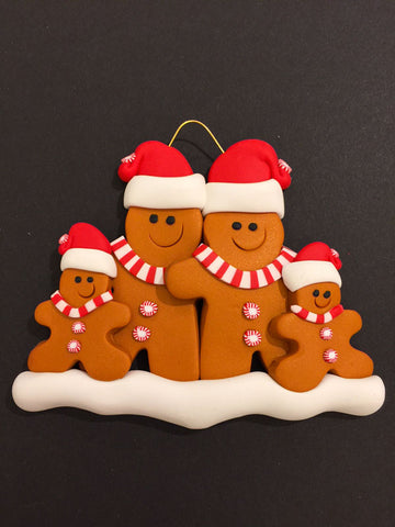 Ginger Bread Family of 4 Ornament