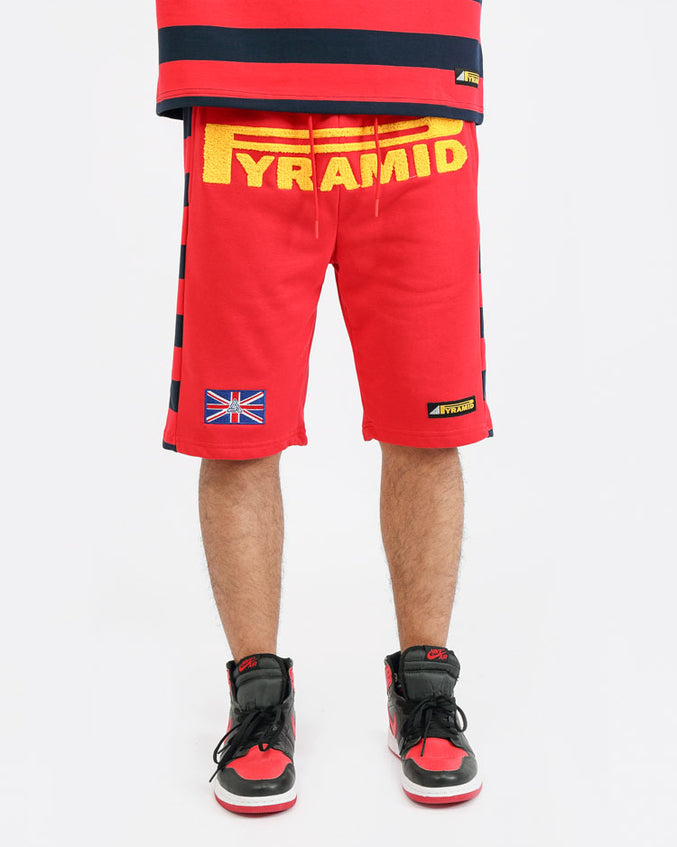 BIG AND TALL GAME STRIPE SHORT-COLOR: RED