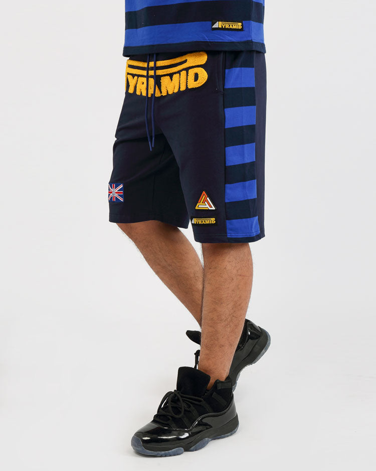 BIG AND TALL GAME STRIPE SHORT-COLOR: ROYAL BLUE