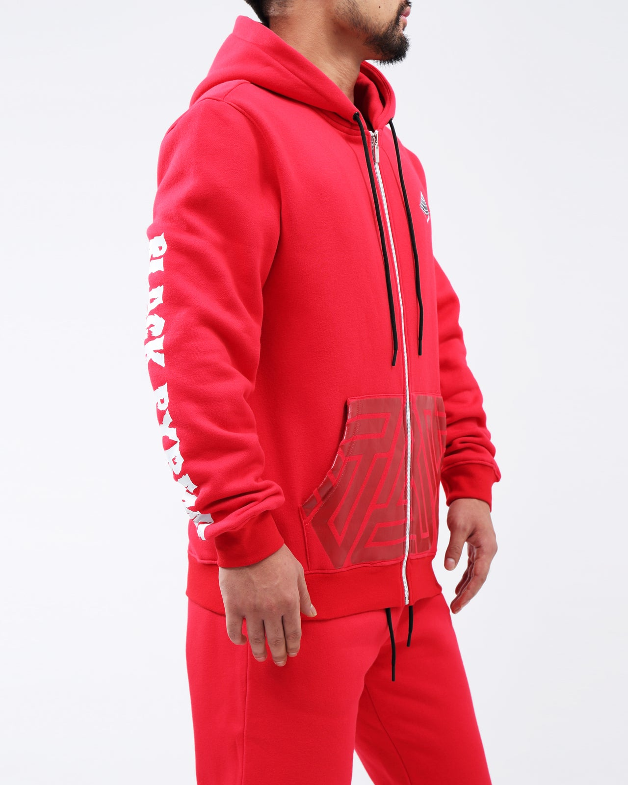 TRIPLE LOGO FULL ZIP HOODIE - Color: Red