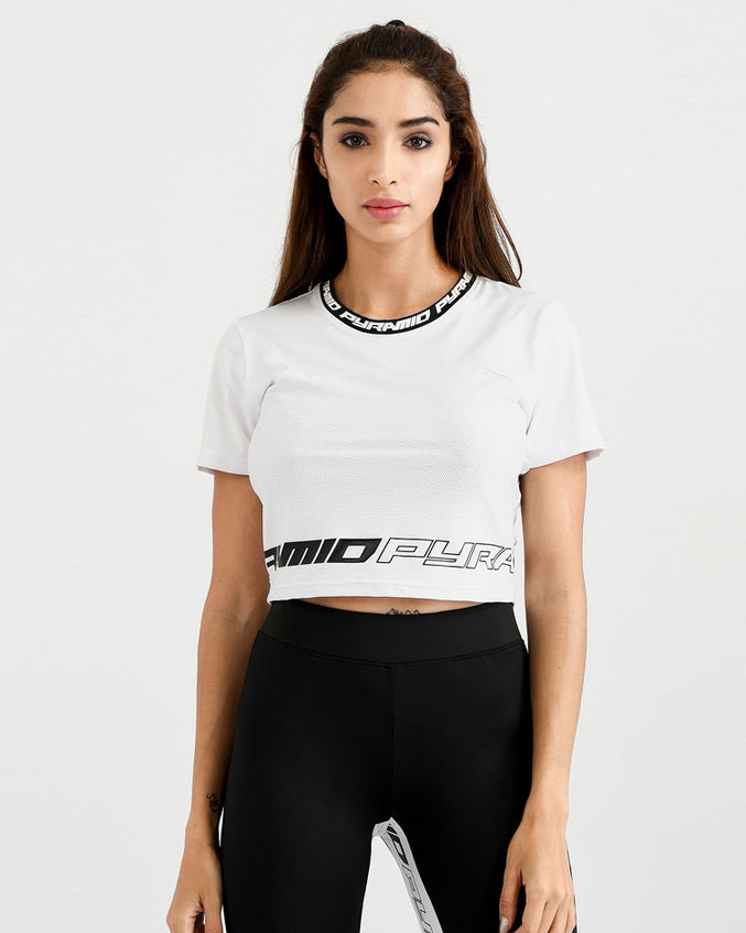 WOMENS MATRIX LOGO CROP TOP-COLOR: WHITE