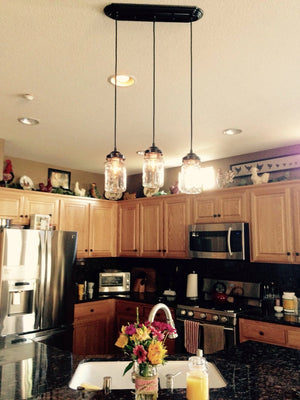 Mason Jar 3-Light CHANDELIER Rectangular Vintage Quarts - The Lamp Goods