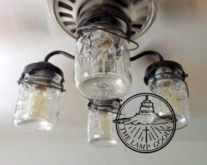 Mason Jar LIGHT KIT for Ceiling Fan with Vintage Pints - The Lamp Goods
