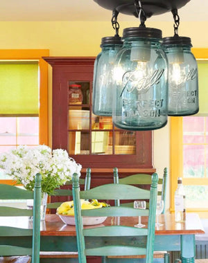 Vintage Blue Mason Jar Ceiling Lighting Fixture Trio - The Lamp Goods
