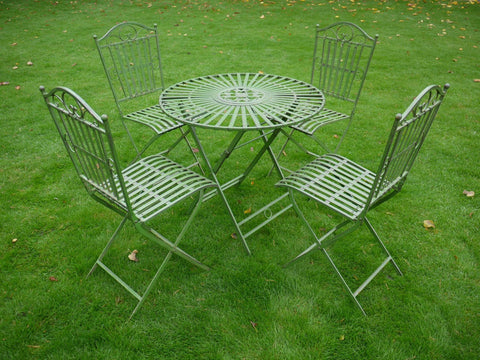 Antique Green Table & 4 Chairs Bistro Garden Patio Furniture Set