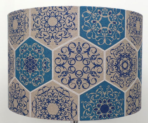 Mosaic Design Linen Blue and Beige Lampshade