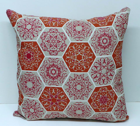Mosaic Design Linen Terracotta and Beige Cushion Cover
