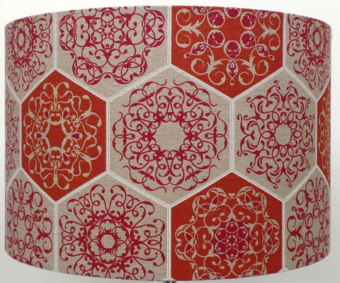 Mosaic Design Linen Terracotta and Beige Lampshade