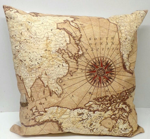 Vintage Old World Map Handmade Cushion Cover