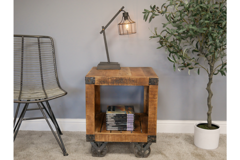 BEDSIDE TABLE INDUSTRIAL STYLE H60cm x W50cm x D50cm | furniturechecklist.co.uk