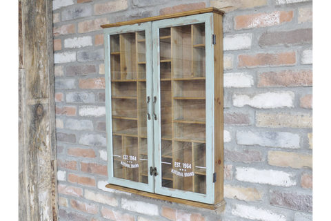 Vintage Display Cabinet Wall Mounted Glass Fronted With Shelves  | furniturechecklist.co.uk