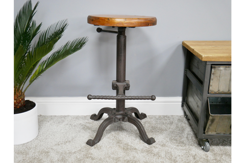 Stool With Wooden Top Adjustable Height | furniturechecklist.co.uk