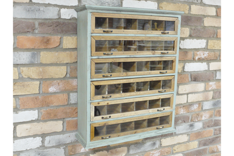 Buy Vintage Rustic Small Display Cabinet Glass Fronted W: 60cm H: 73cm D: 18cm | furniturechecklist.co.uk