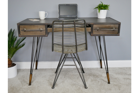 Industrial Metal Office Desk W120cm x H81cm x D54cm | furniturechecklist.co.uk