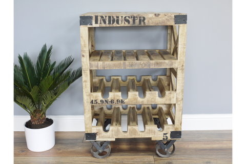 Industrial Style Drinks Cabinet Wine Trolley Wine Rack H88cm x W59cm x D41cm | Furniture Checklist
