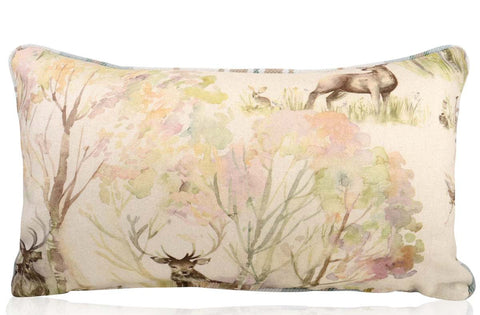 Enchanted Forest Stag Filled Bolster Cushion 30cm x 50cm | furniturechecklist.co.uk