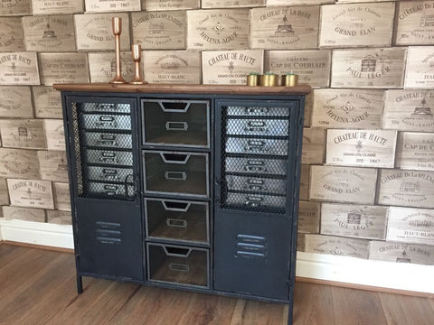Industrial Cabinet With Wooden Top Distressed Storage Unit