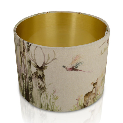 Enchanted Forest Gold Style Inner Handmade Drum Lampshade | furniturechecklist.co.uk