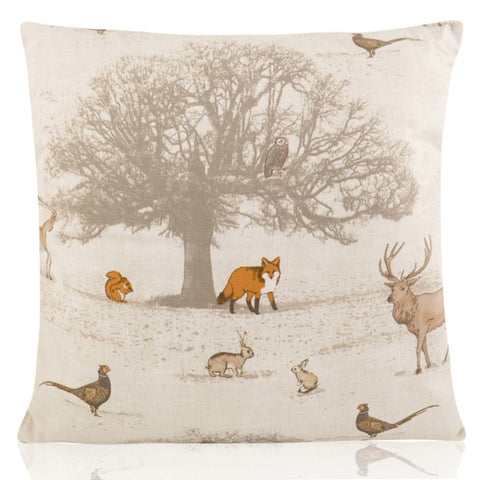 Woodland Animals Vintage Cushion Cover