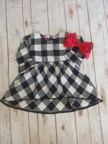 Black and White Plaid High Low