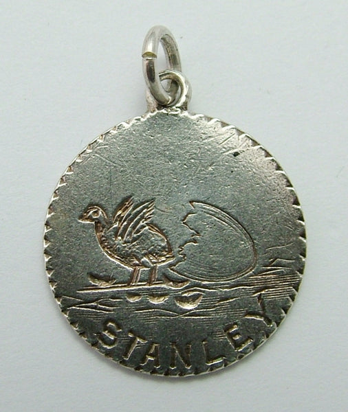 Antique Victorian Silver Love Token Coin Charm Engraved with CHICK & EGG Love Token - Sandy's Vintage Charms