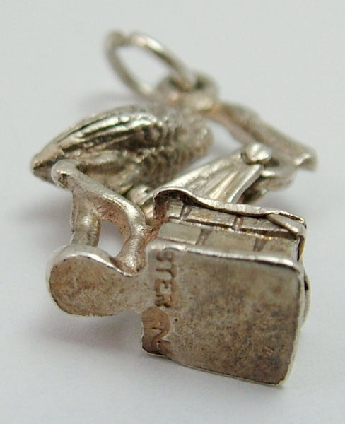 "Vintage 1970's Silver Stork with Moving Baby over a Chimney Pot ""It's A Girl"" Silver Charm - Sandy's Vintage Charms"