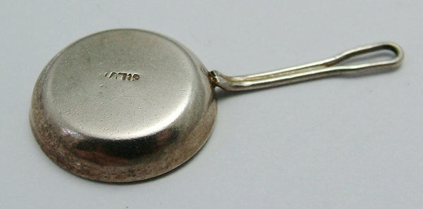 Vintage 1960's Silver Frying Pan Charm with Enamel Painted Fried Eggs Silver Charm - Sandy's Vintage Charms